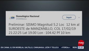 FOTO: Sismo de magnitud de 5.2 en Manzanillo, Colima, 17 febrero 2019