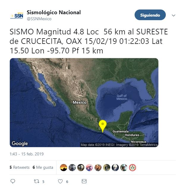 sismo de magnitud 4.8 sacude crucecita oaxaca