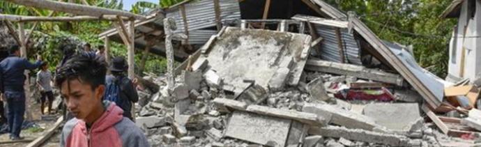 Foto: Terremoto en Indonesia, daños a viviendas, 28 de febrero de 2019, Sumatra, Indonesia