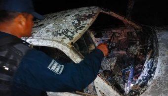 Foto: El vehículo donde se desplazaba el alcalde de Juchitán, Emilio Montero Pérez, fue quemado, el 10 de marzo de 2019 (Quadratín Oaxaca)
