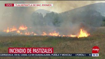 Foto: Cierra carretera en Tlalnepantla de Baz por incendio en pastizales