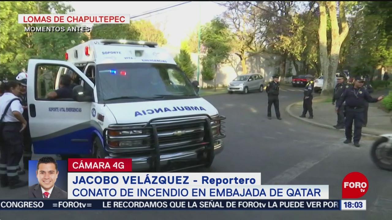 Foto: Conato de incendio en Embajada de Qatar en México