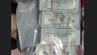 Foto: Dólares asegurados en Naucalpan, 8 de marzo 2019. (Twitter @PoliciaFedMx)