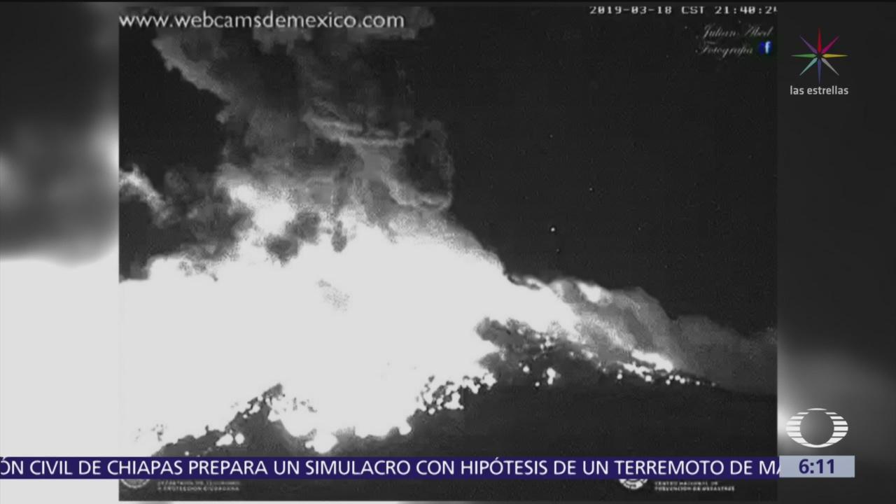 En calma San Andrés Calpan, Puebla, tras explosión del volcán Popocatépetl