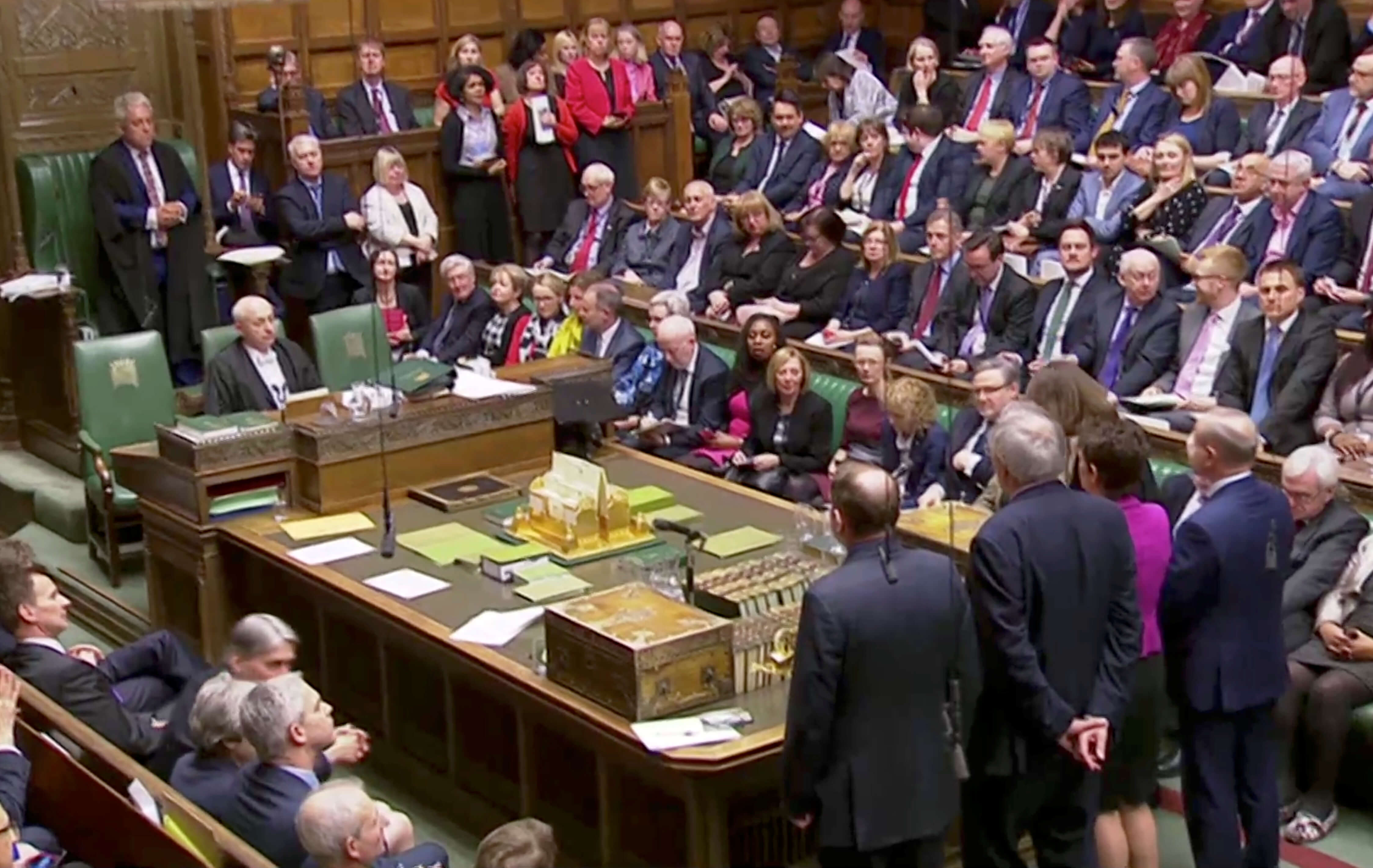 Foto: Resultados en el Parlamento británico sobre la votación para aplazar el Brexit. El 27 de marzo de 2019