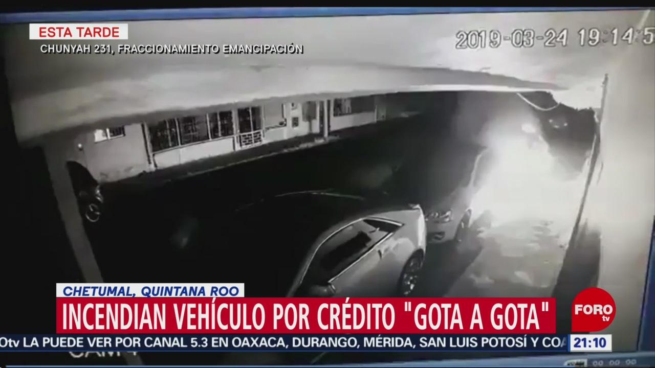 """FOTO: Incendian vehículo por crédito """"gota a gota"""" en Chetumal, 24 Marzo 2019"""
