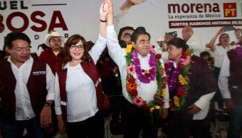 Foto: La dirigente nacional de Morena, Yeidckol Polevnsky, acompañó a Miguel Barbosa en su arranque de campaña para la gubernatura de Puebla, el 31 de marzo de 2019 (Twitter @yeidckol)