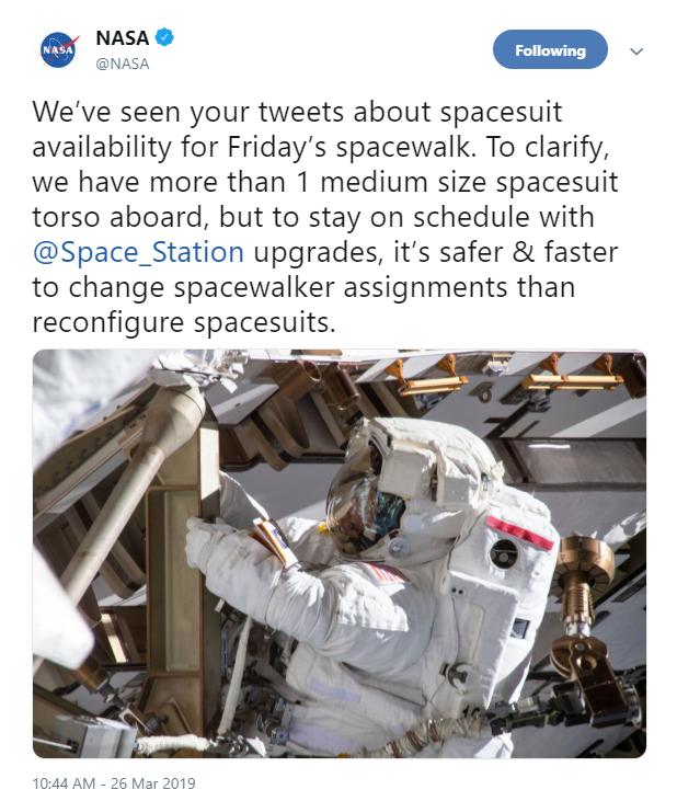 La NASA cancela la primera caminata espacial de mujeres por un traje de talla incorrecta (Twitter)
