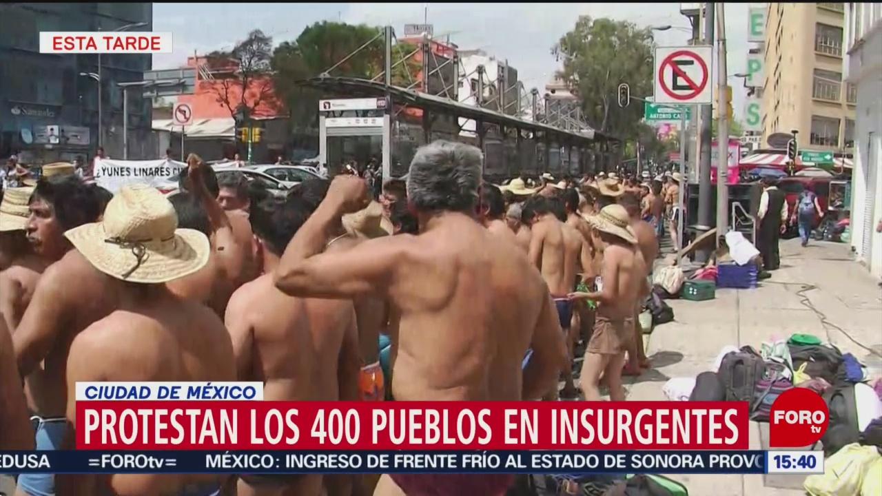 Foto: Protestan integrantes de los 400 pueblos indígenas frente al Senado