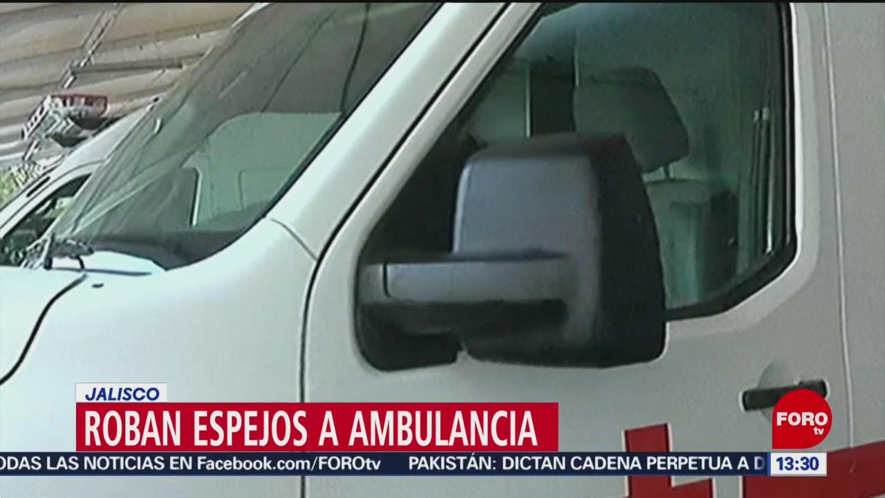 Foto: Roban espejos a ambulancia Cruz Roja en Jalisco