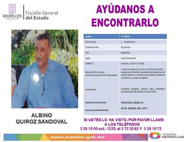 Foto: Sin rastro del profesor Albino Quiroz Sandoval 28 marzo 2019