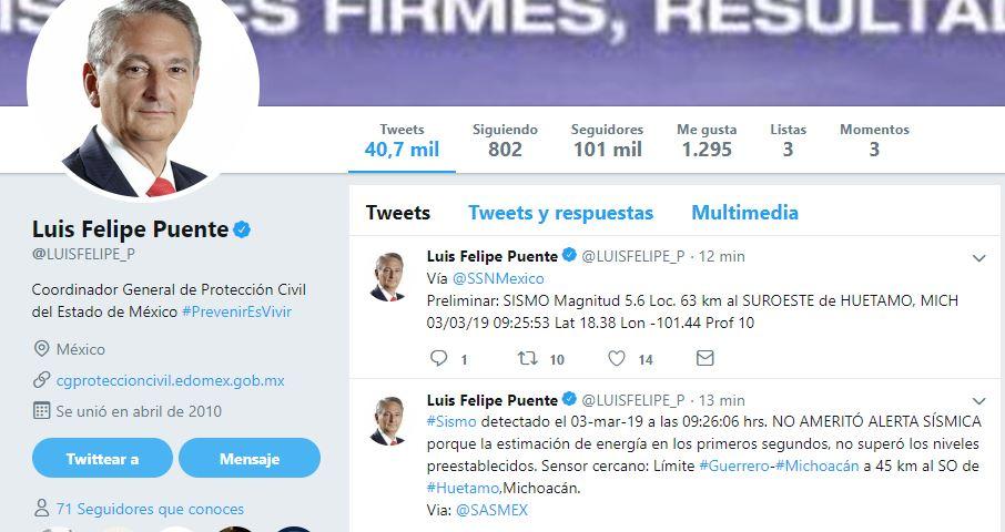 Foto:Tuit del coordinador General de Protección Civil del Estado de México, Luis Felipe Puente, 3 marzo 2019
