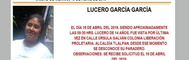 Foto Alerta Amber para localizar a Lucero García García 19 abril 2019