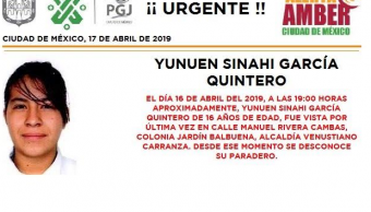 Foto: Alerta Amber Yunuen Sinahí García Quintero, 17 de abril de 2019