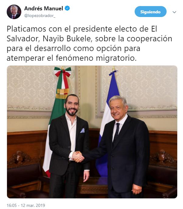 IMAGEN AMLO planea gira por Chiapas con presidente electo de El Salvador; en la imagen, la reunión del pasado 12 de marzo (Twitter 12 marzo 2019 cdmx)