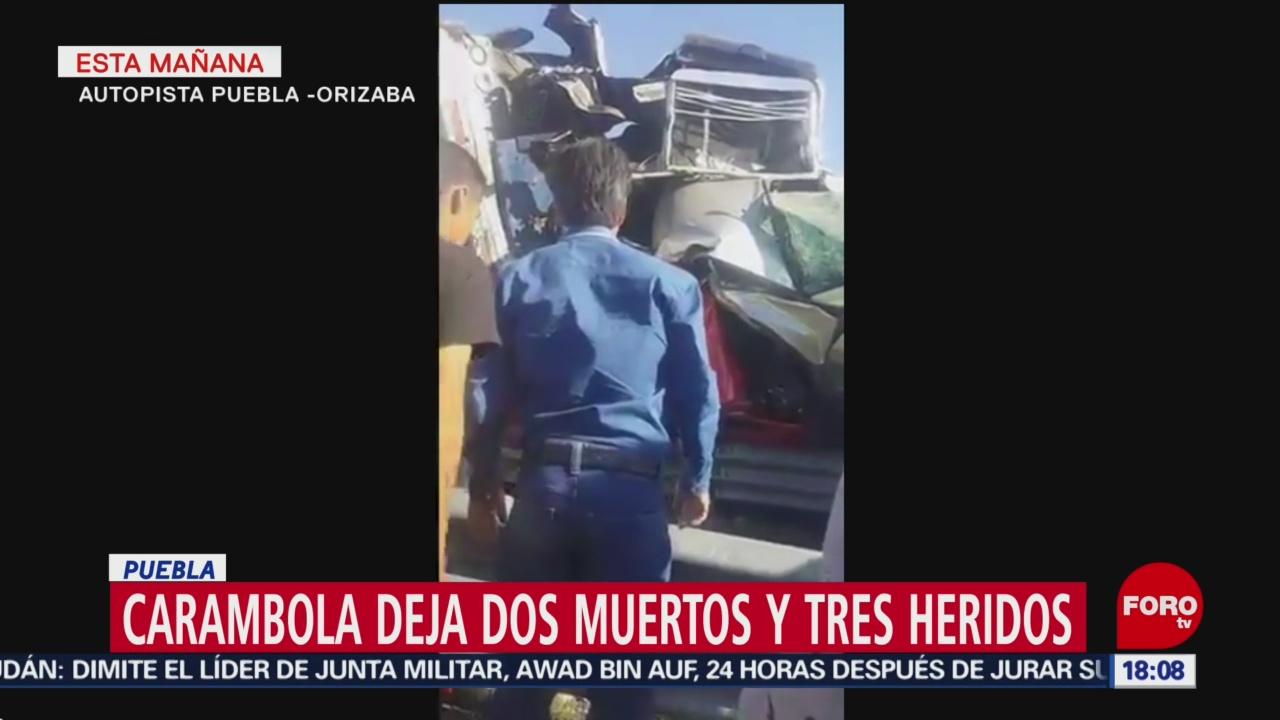 FOTO: Carambola deja dos muertos y tres heridos en Puebla, 13 de abril 2019