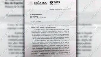 Foo: Borrador de la carta que el presidente López Obrador le envió al rey de España para exigirle una disculpa por los abusos sucedidos durante la Conquista, 10 de abril 2019