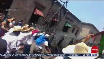 Foto:Comuneros Enfrentan Policías Morelia Michoacán Video 5 de Abril 2019