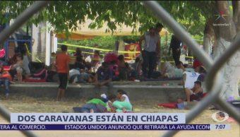 Dos caravanas migrantes están en Mapastepec, Chiapas