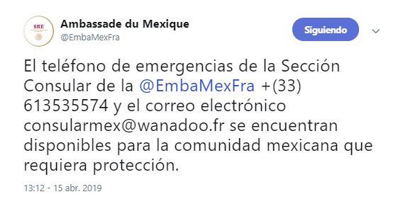 Foto Embajada de México en Francia habilita apoyo consular tras incendio en Notre Dame 15 abril 2019
