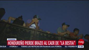 "FOTO: Hondureño pierde brazo al caer de ""La Bestia"" en Chiapas, 27 ABRIL 2019"