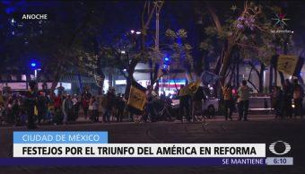 Sin incidentes, festejo americanista en el Ángel de la Independencia