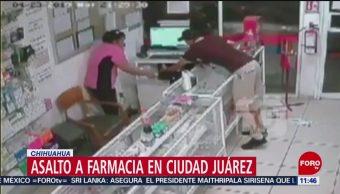 Sujeto asalta farmacia en Ciudad Juárez, Chihuahua