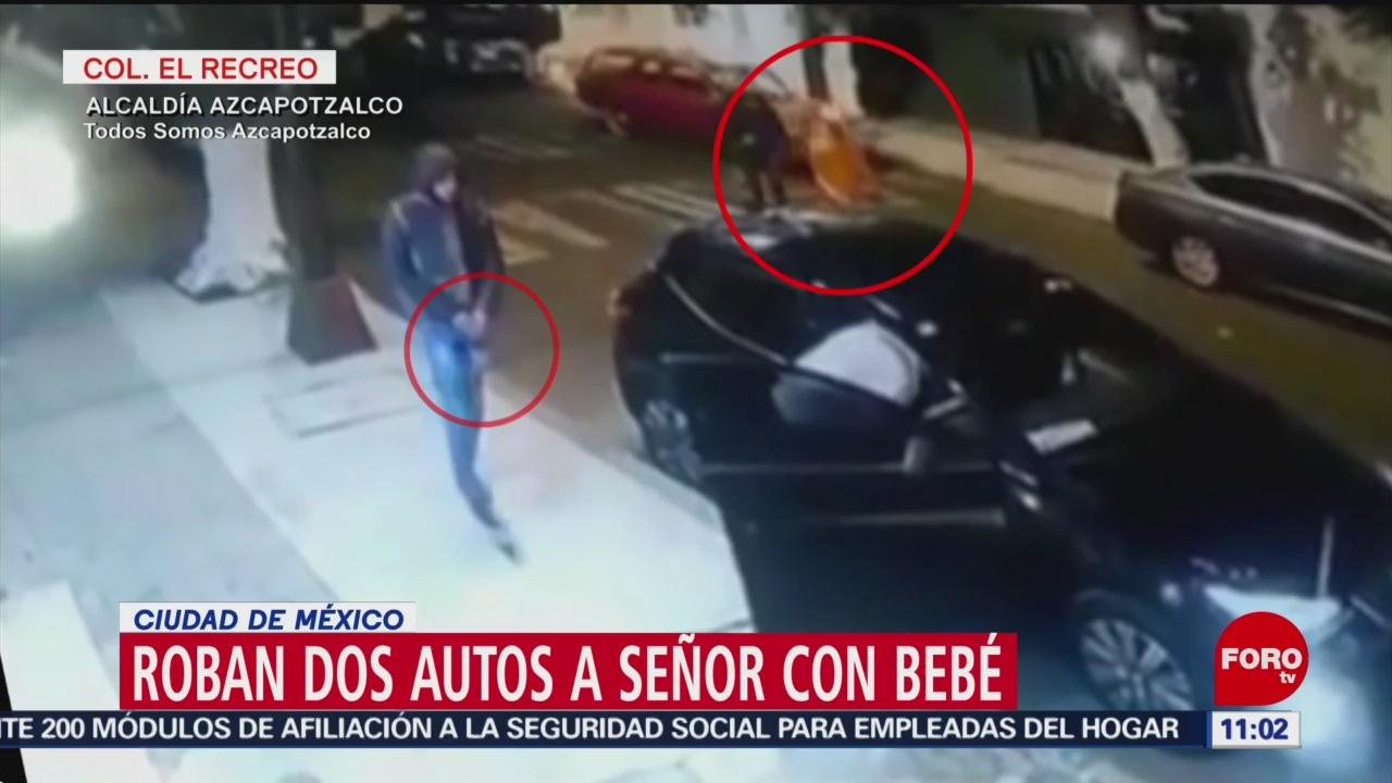Sujetos roban automóviles mientras víctima acomodaba a su bebé en CDMX