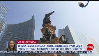 Foto: Teresa Ramos Retirar Monumentos Colón Cortés 3 de Abril 2019