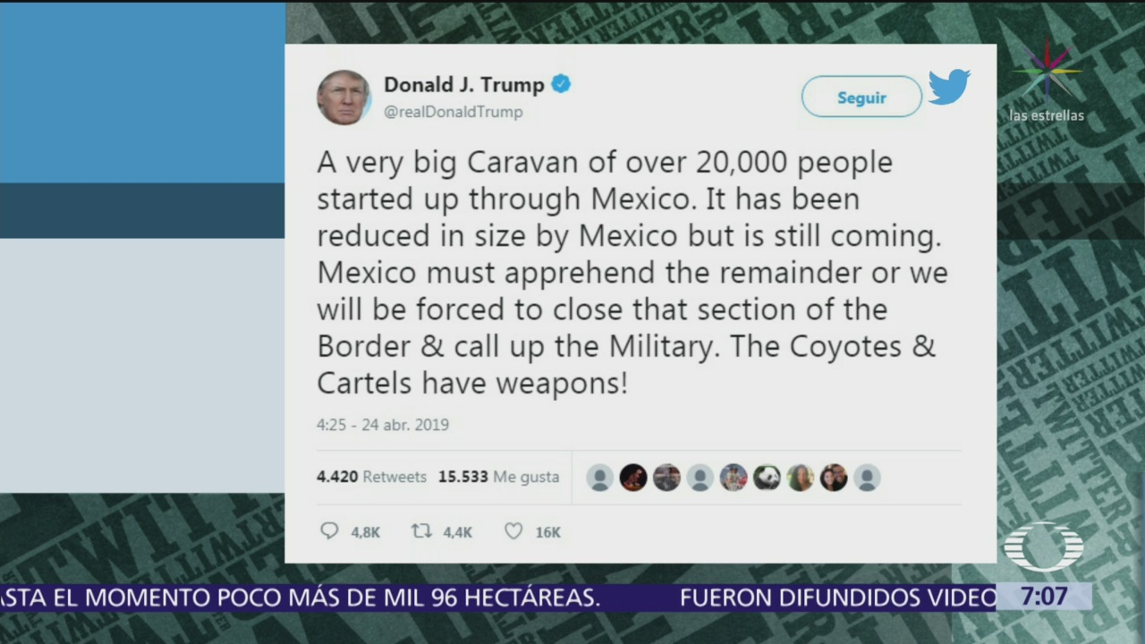 Trump exige a México detener a nueva caravana de migrantes
