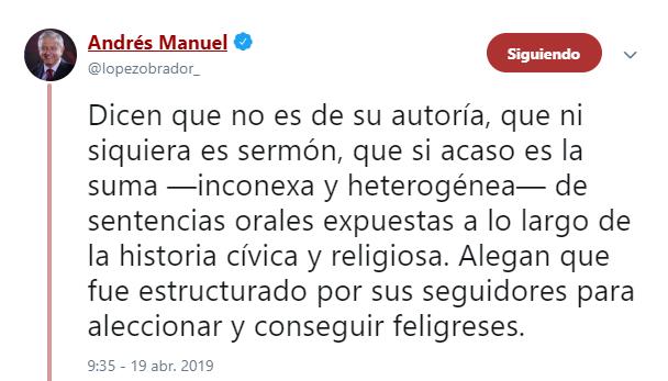 Imagen: Tuit de AMLO sobre pasaje bíblico, 19 de abril de 2019, México