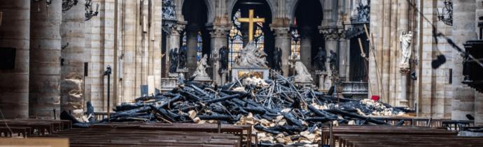 Foto: Vista del interior de la catedral de Notre Dame luego del incendio,16 de abril de 2019, Francia