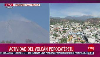 FOTO: Volcán Popocatépetl emite una pequeña fumarola este sábado, 13 de abril 2019