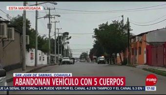 FOTO: Abandonan vehículo con 5 cuerpos en San Juan de Sabinas, Coahuila, 18 MAYO 2019