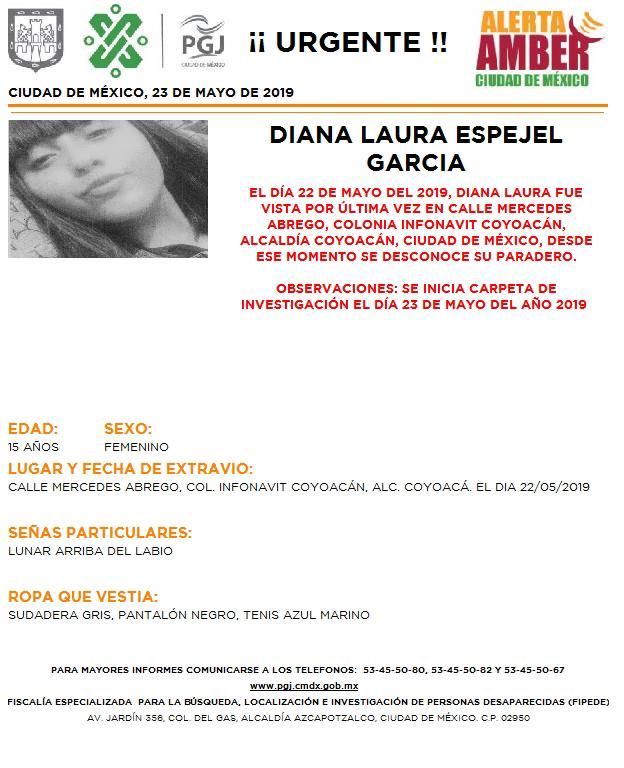 Foto Alerta Amber para localizar a Diana Laura Espejel García 24 mayo 2019