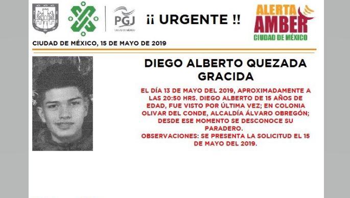 Foto Alerta Amber Diego Alberto Quezada Gracida 16 mayo 2019