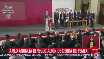 AMLO anuncia renegociación de deuda de Pemex