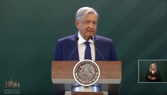 Foto: El presidente Andrés Manuel López Obrador, en su conferencia de prensa, 8 mayo 2019