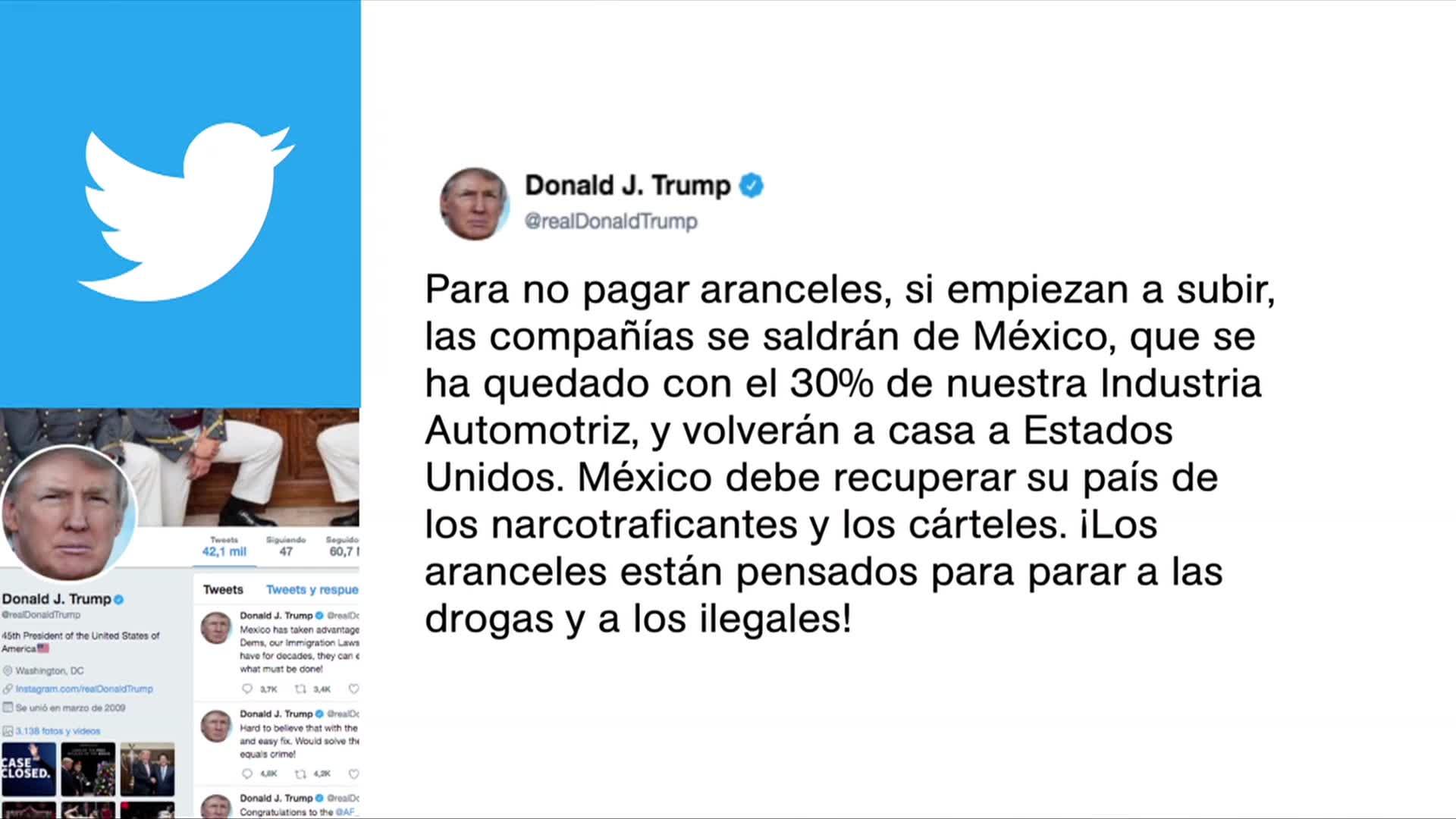 Aranceles son para parar drogas e ilegales, dice Trump