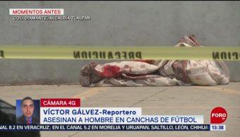 FOTO. Asesinan a hombre en canchas de futbol, en Tlalpan