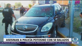 Asesinan a policía con 50 balazos en San Luis Potosí