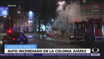 Auto se incendia en la colonia Juárez, CDMX