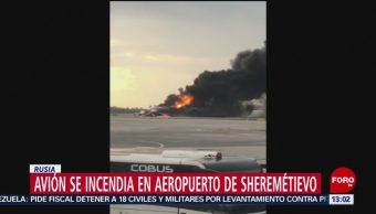 FOTO:Avión se incendia en aeropuerto de Sheremétievo en Rusia, 5 MAYO 2019