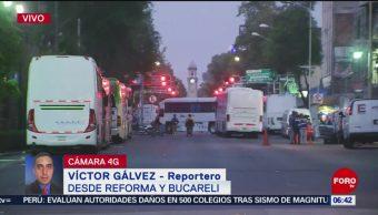 Campesinos cierran carriles laterales de Bucareli; protestan en Segob