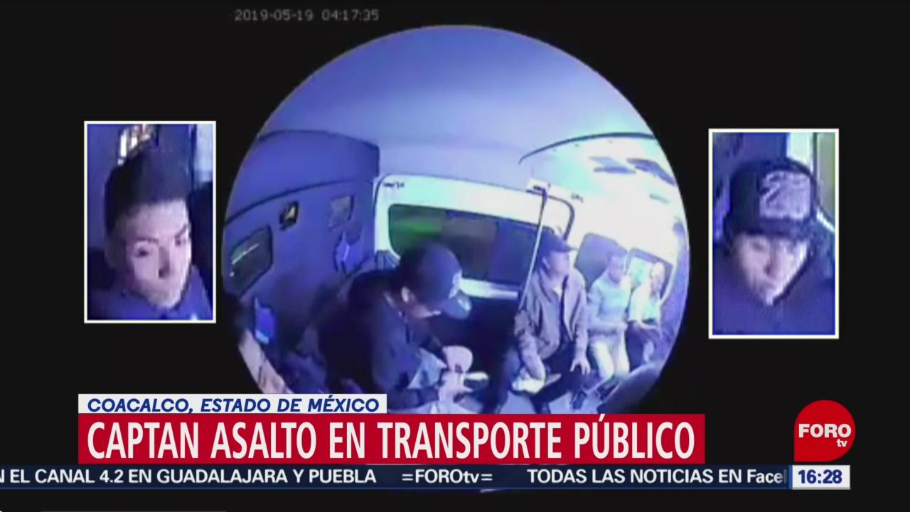 FOTO: Captan asalto en transporte público en Coacalco, Edomex, 27 MAYO 2019