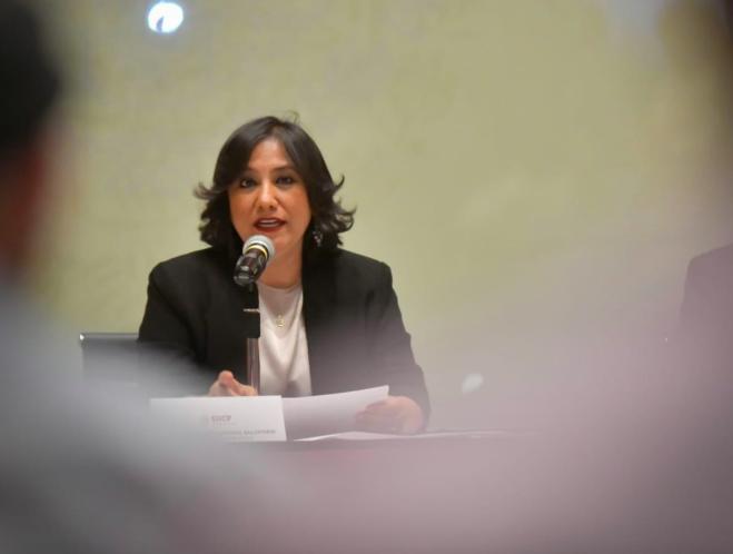 Foto: La titular de la SFP, Irma Sandoval, durante el anuncio de las medidas de austeridad, el 3 de mayo de 2019 (@SFP_mx)
