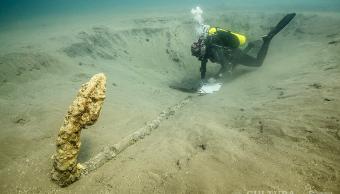 """FOTO Descubren ancla que podría ser de """"flota perdida"""" de Hernán Cortés, en Veracruz (INAH 30 abril 2019 veracruz)"""