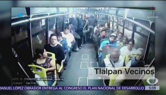Difunden asalto a un autobús de pasajeros en alcaldía Tlalpan