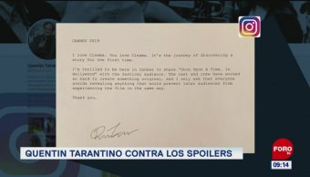 #EspectáculosenExpreso: Quentin Tarantino contra los spoilers