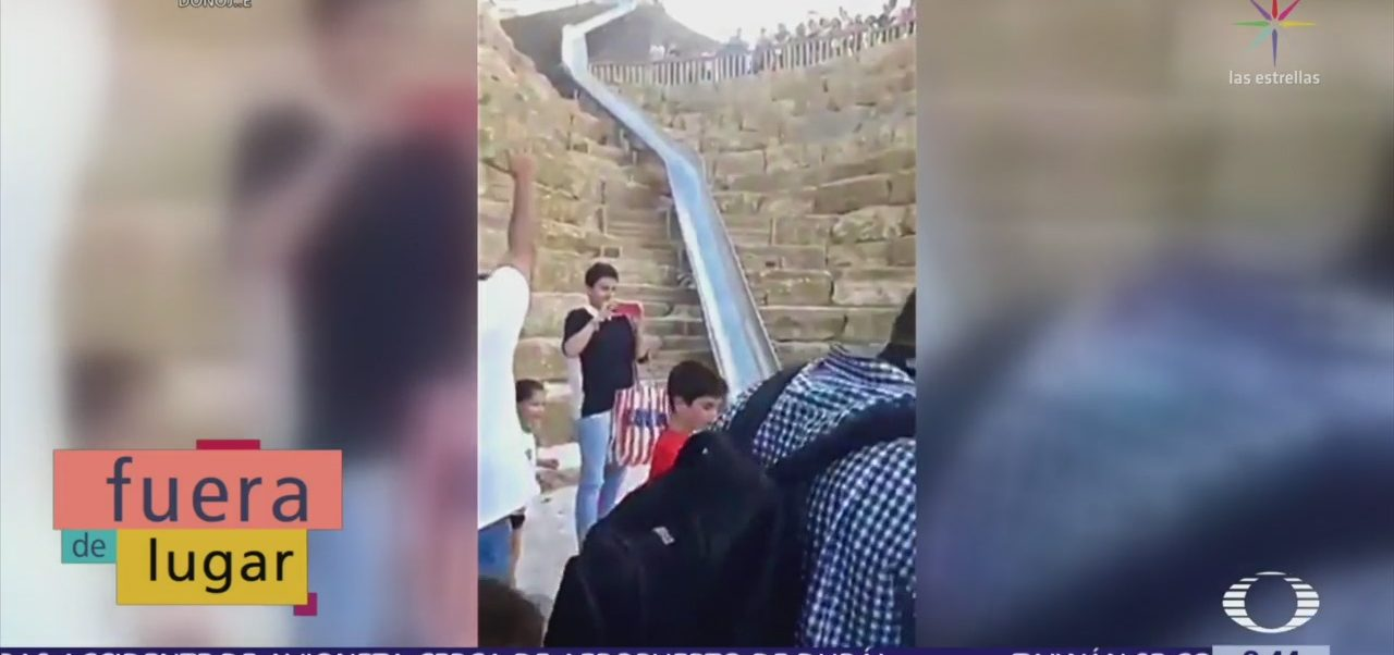 Fuera de Lugar: Tobogán en calle de Málaga, España, causa controversia